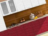 Кухня Валерия-Страйп белый/красный 2200